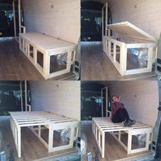 01 Bed Design Donkey Van Conversion Building the Furniture And Decorating Van Conversion Build, Van Conversion Interior, Camper Van Conversion Diy, Van Interior, Mini Camper, Camper Life, Campervan Bed, Build A Camper Van, Camper Beds