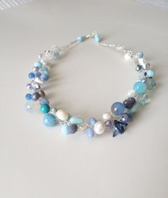 Blue White Crochet Necklace, White and Blue Necklace, Summer Jewelry, Boho Jewelry, Crochet Jewelry