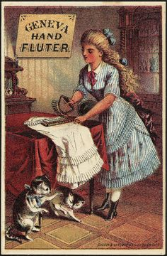 Geneva Hand Fluter iron vintage advertising card (c. 1870~1900)