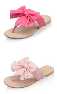 536ef08ef7ba3 Women s Pink Bowknot Flat Flip Flop Summer Sandals