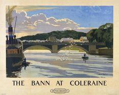 Irish Travel Art Poster River Bann Northern Ireland painted by Norman Wilkinson
