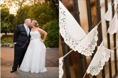 lace bunting made from doilies and bakers twine, rustic wedding