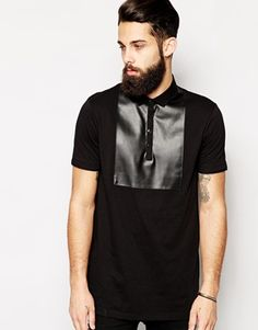 ASOS Longline Smart Polo Shirt With Leather Look Bib