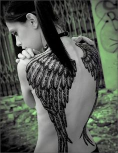 Gorgeous wing tattoo!