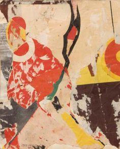 JOSEPH LACASSE (1894 - 1975)  Sans titre, 1939 Collages et arrachages d'affiches. Monogrammé et daté 1939 en bas à gauche. Signé et daté au dos. H_28,5 cm L_24 cm