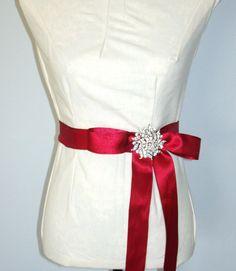 Wedding Bridal Gown SashBURGUNDY BRIDAL SASH by LizAnnFlorals