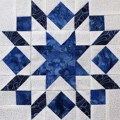 Two More Blocks - Blue & White Sampler Big Block Quilts, Star Quilt Blocks, Star Quilts, Quilt Square Patterns, Barn Quilt Patterns, Pattern Blocks, Half Square Triangle Quilts, Square Quilt, Puzzle Quilt
