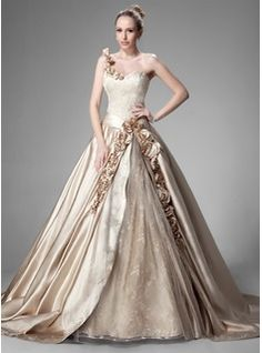 Ball-Gown One-Shoulder Chapel Train Satin Lace Wedding Dress With Ruffle Beading Flower(s) (002004515) - JJsHouse