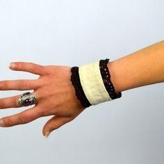 Bracelet manchette style bohème en chanvre et coton biologique et dentelle de calais véritable femme taille réglable