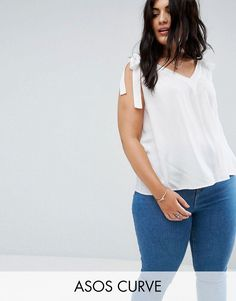 ASOS CURVE Crinkle Tank with Tie Shoulder - White