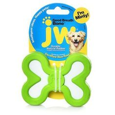 "Mint flavored tough rubber bone to help freshen your dogs breath.   And it is made with natural durable rubber so the fun and fresh breath is sure to last when playing fetch and tugging  Assorted Colors - (We will try to match colors to your order when possible)  Small   3"" in long by 2"" wide"