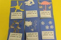 Lee's Kindergarten: Morning Centers this week & Weather Activities Weather Art, Weather Crafts, Weather And Climate, Spring Weather, Weather Book, Weather Center, Teaching Weather, Preschool Weather, Weather Science