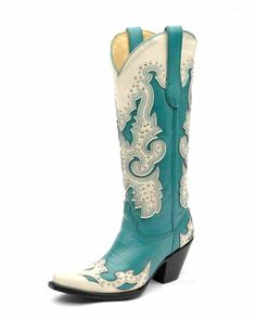 Women's Turquoise/ Cream Studs Wing Tip Boot - A1188   .   OMG!             $258.95     Corral