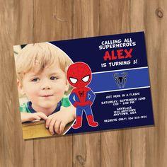 Spiderman Inspired Super Hero Birthday Party Invitation with Photo (Digital - DIY) door DigiPrintz op Etsy https://www.etsy.com/nl/listing/162904675/spiderman-inspired-super-hero-birthday