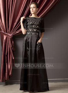 A-Line/Princess Scoop Neck Floor-Length Charmeuse Mother of the Bride Dress With Lace (008014245)