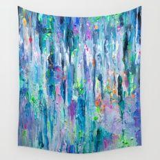 Silver Rain Wall Tapestry