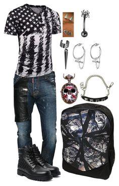 """""""Terry Jarvis - Basic Outfit"""" by sonictf on Polyvore featuring Dsquared2, Karl Lagerfeld, Eddie Borgo, men's fashion and menswear"""