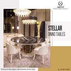 An incredible dining set up upgrades the vibe of a meal.  Give your dining area a ravishing look, with remarkable dining tables by Artyz!  #diningtables #luxuryfurniture #interiordesign #livingroomideas #Artyz 6 Seater Dining Table, Custom Dining Tables, Modern Dining Table, Dining Set, Luxury Furniture, Furnitures, Table Settings, Meal, Chandelier