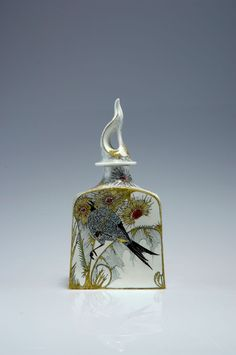 "** Rozenburg, Den Haag, ""Eggshell"" Porcelain covered pot, painted by Schellink, Samuel."
