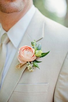 Peach Garden Rose Boutonniere flowerslace and lilies, photography,the robinsons. april
