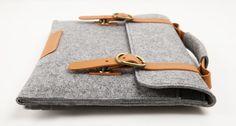 "Macbook pro 15"" Macbook Sleeve Wool Felt Bag  for Macbook pro 15 with Genuine Leather Handle. $36.00, via Etsy."
