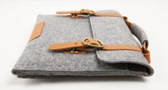 "Macbook pro 15"" Macbook Sleeve Wool Felt Bag  for Macbook pro 15 with Genuine Leather Handle. $36.00, via Etsy."