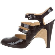 Pre-owned Chanel Patent Leather Cage Pumps