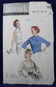 1950's Vintage Sewing Pattern for a Woman's Blouse in Size 12 - Butterick 7589 by TheVintageSewingB on Etsy