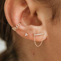 Horizon Chain Earring - 14k Yellow Gold, White Diamond Diamond Studs, Diamond Earrings, Easy To Love, Chain Earrings, Yellow, Gold, Handmade, Romance, Jewelry