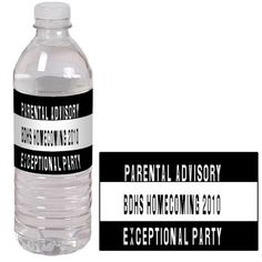Our exclusive Parental Advisory Personalized Water Bottle Labels will transform an ordinary water bottle into a one matching your party theme.