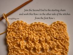 Winter Sunrise Scarf - Join the second half to the starting chain of the first half.