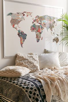 I will have so many world maps in my home Urban Outfitters Bianca Green Louis Armstrong Told Us So Art Print My New Room, My Room, World Map Art, World Map Painting, World Map Decor, World Map Poster, Louis Armstrong, Creation Deco, Cozy Bed