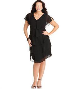 Patra Plus Size Short-Sleeve Tiered Dress -Macy's