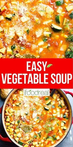 This Homemade Vegetable Soup is loaded with fresh or frozen vegetables and is so easy and delicious. You can make it on the stove, in the Instant Pot or a slow cooker. It's perfect for a quick lunch or a filling dinner. Best Vegetable Soup Recipe, Vegetable Soup Crock Pot, Homemade Vegetable Soups, Healthy One Pot Meals, Healthy Soup, Quick Meals, Healthy Eating, Vegan Soup, Easy Dinners