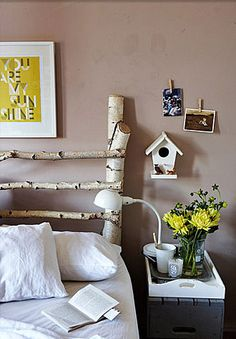 Silver birch bed and little bird house