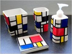 We have already told you of a simple but stylish soap dish made of parts of ceramics. This is a how-to for a whole bathroom kit in the same way, in a Piet Mondrian, Wayne Thiebaud, Diy Soap Holder, Theo Van Doesburg, Living Room Decor On A Budget, Cafe Art, Art Sculpture, Aesthetic Design, Dutch Artists