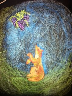 Waldorf ~ 2nd grade ~ Aesop Fables ~ The Fox and the Grapes ~ chalkboard drawing