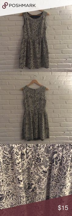 Polyester dress - Size L Polyester dress with black and white lace pattern. Looks great with black tights and booties! BeBop Dresses Mini