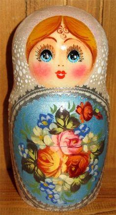 zhostovo russian nesting dolls | Russian nesting doll 5 WHITE BLUE Matrioschka Unique Zhostovo ...