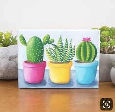 Bright Cactus Trio - Oil Painting Cacman and TusGirl We are the cactus family 🌵 spreading Love is Our mission💞 Sharing our story as comics to let you know that true love exists❤️ Simple Oil Painting, Simple Canvas Paintings, Small Canvas Art, Mini Canvas Art, Easy Paintings, Diy Painting, Painting Canvas, Cactus Drawing, Cactus Painting