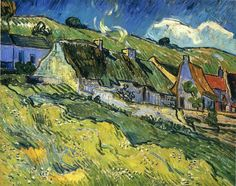 A Group of Cottages - Vincent van Gogh. Completed by : 1890, Saint-remy-de-provence, France, Post Impressionism, Landscape, Oil on canvas, Gallery : State Hermatidge Museum, Russia. | via wikipaintings.org