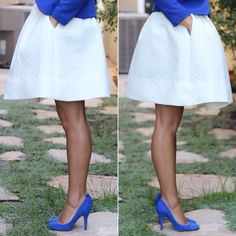 H&M flared skirt, cobalt blue blazer and blue suede shoes #outfit #ootd