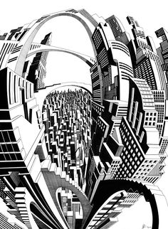 Fine line black ink hand drawn perspective cityscape illustration