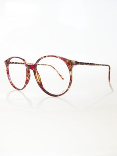 ab15598b8e13cb Vintage OVERSIZED Italian Eyeglasses CRANBERRY Mottled Round 1980s  Sunglasses INDIE Hipster New Old Stock Nos