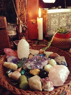 Energy crystals, stones, candles, and incense for healing...