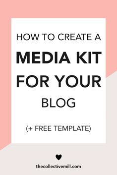 How to Create a Media Kit for Your Blog (+ Free Template): A media kit is what you will start using when you work with sponsors!! Basically, it goes over what your blog is all about & the statistics behind your site. That way, any potential sponsors will know if your blog is a good match for their brand & vice versa. Click on the link to learn EXACTLY how to create one, so you can get started asap. Perfect for  food bloggers,  lifestyle bloggers,  mom bloggers. TheCollectiveMill.com
