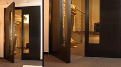 Custom Interior Doors (Wood  Glass): Interior Wood Doors - Glass insert, flush wenge double door - B16