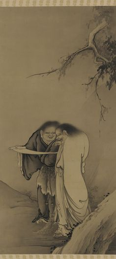 Japanese Art | The Chinese Taoist Immortals, Han-shan and Shih-te (Kanzan and Jittoku)|.1886. Hashimoto Gahō , (Japanese, 1835 - 1908).Meiji era.Japan.The Chinese hermits known in Japanese as Kanzan (Hanshan in Chinese) and Jittoku (Shide in Chinese), lived near the sacred mountain Tiantaishan during the Tang dynasty (618–907).They appear frequently in Zen Buddhist paintings, in which they represent rejection of the secular world.