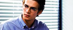 Hayden Christensen gif he looks so cute with glasses