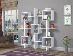 Royal Book Shelf with a Modern Design for the Office/Living Room white / red Low Bookcase, Cube Bookcase, Etagere Bookcase, Unique Bookshelves, Bookcase White, Corner Display Unit, Cube Unit, Homestead Living, Living Room White